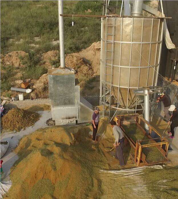 航拍临城谷子粮食烘干机作业视频